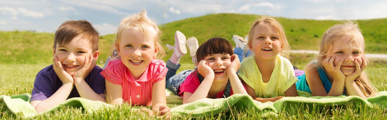 kids in flowers field
