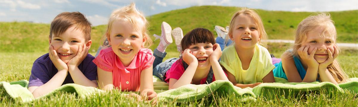 Kids in a field