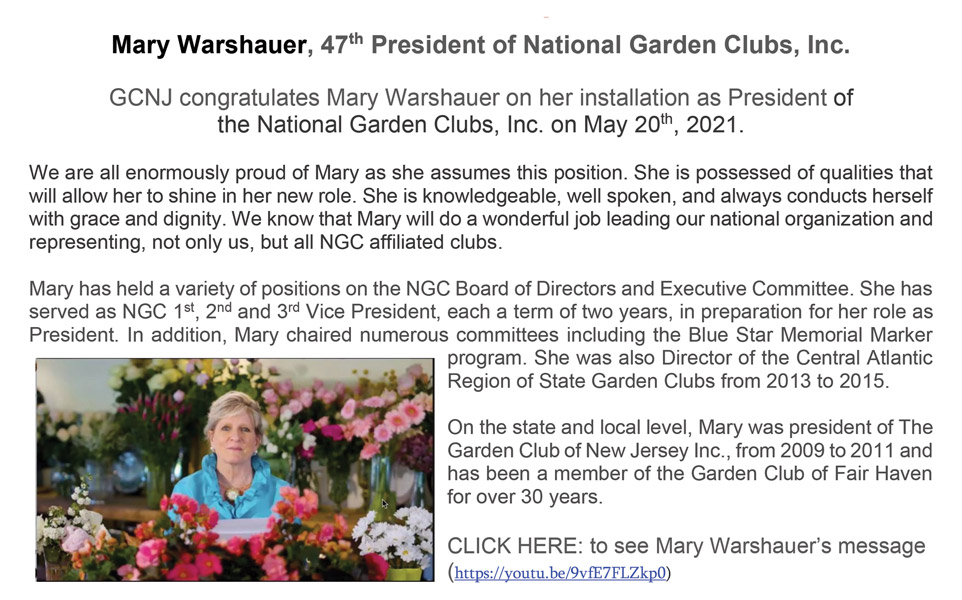 NGC president Mary Warshauer